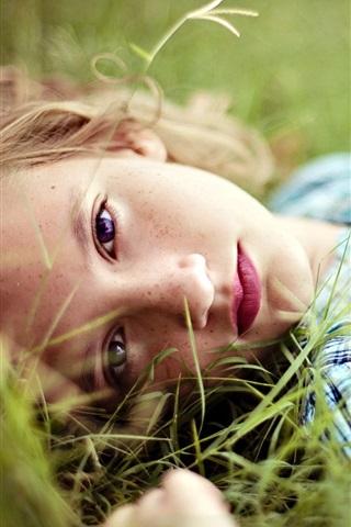 iPhone Wallpaper Girl lying on grass, blonde, face