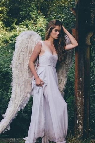 iPhone Wallpaper Grace Bowker, Angel girl, white dress