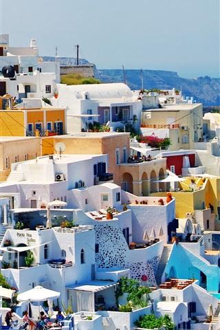 iPhone Wallpaper Greece, houses, city, coast, sea, sunlight