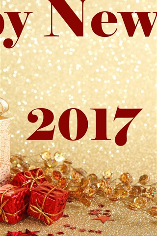 iPhone Wallpaper Happy New Year 2017, gifts, golden style