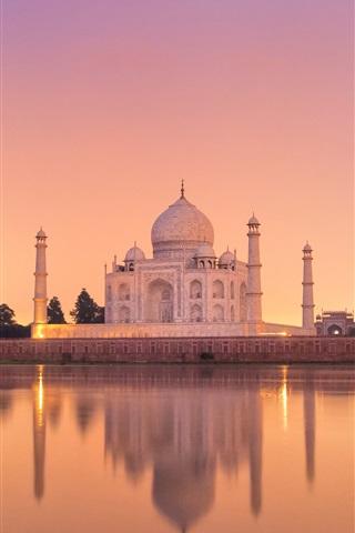 iPhone Wallpaper India, Taj Mahal, castle, water, reflection, dusk