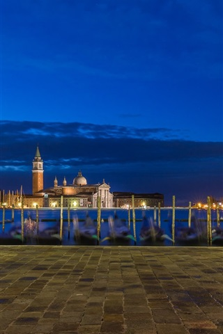 iPhone Wallpaper Italy, Venice, church, river, boats, buildings, lights