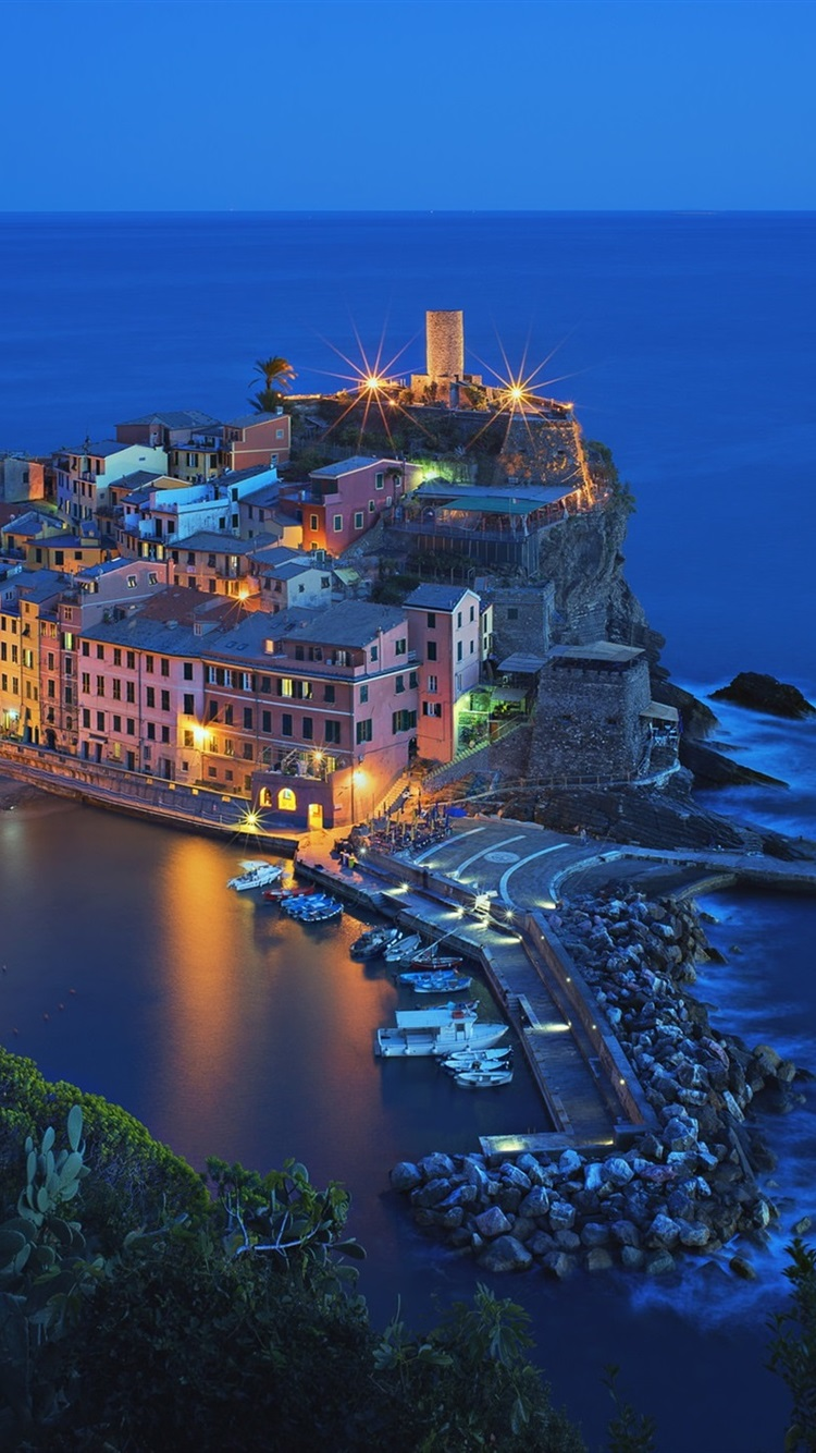 Italy Vernazza Cinque Terre Beautiful Night View Houses