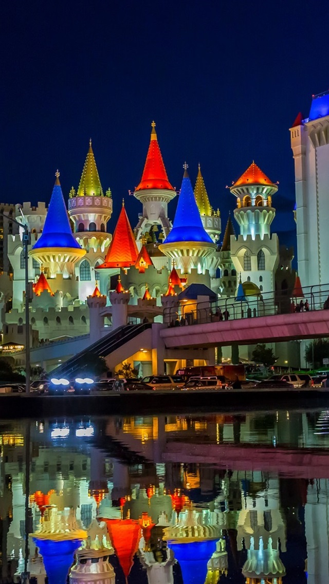 Las Vegas Nevada Usa City Night Castle Buildings Water Lights 640x1136 Iphone 5 5s 5c Se Wallpaper Background Picture Image