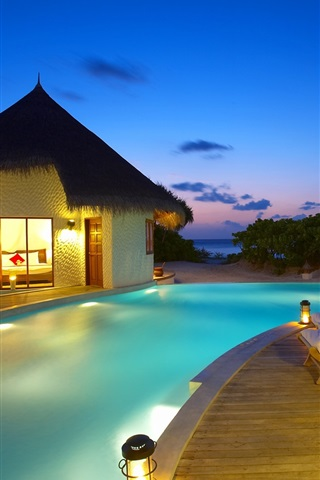 iPhone Wallpaper Maldives, resort, sunbeds, pool, huts, sea, evening