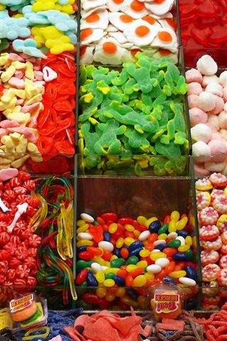 iPhone Wallpaper Many kinds of candy, colorful, shop