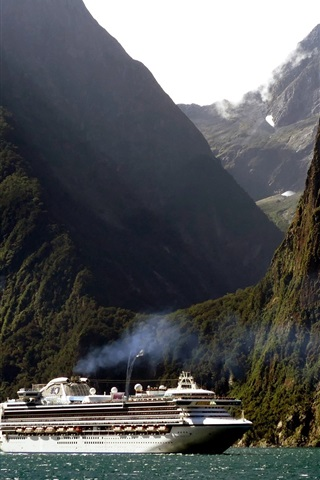 iPhone Wallpaper New Zealand, cruise ship, mountain, cliff, sea