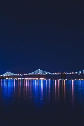 iPhone Wallpaper Night city, river, bridge, lights, illumination