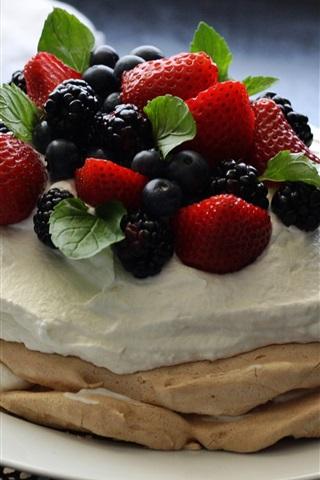 iPhone Wallpaper Pancake, cream, berries, dessert