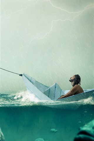 iPhone Wallpaper Paper boat, big fish, sea, rain, people, creative picture