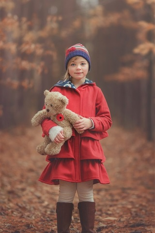 iPhone Wallpaper Red clothes little girl, child, teddy bear, autumn, forest