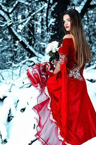 iPhone Wallpaper Red dress girl in winter, look back, rose, snow