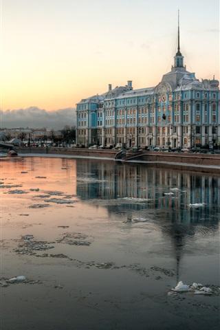 iPhone Wallpaper Saint Petersburg, Russia, river, city, houses, winter, snow
