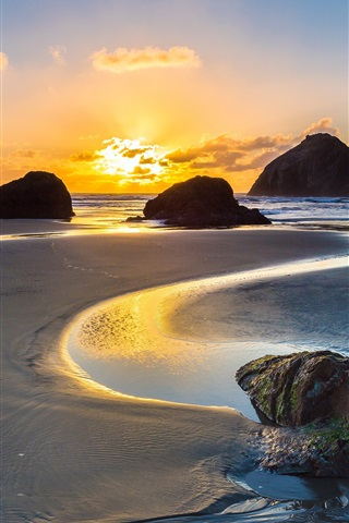 iPhone Wallpaper Sea, ocean, coast, beach, rocks, dawn, sunrise, Bandon, Oregon, USA