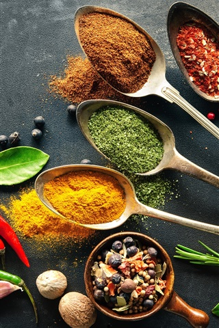 iPhone Wallpaper Seasoning, spices, pepper, spoon, nuts, leaves