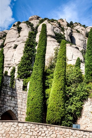 iPhone Wallpaper Spain, Montserrat, Catalonia, monastery, trees, clouds