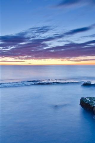iPhone Wallpaper Spain, Valencia, sea, coast, stones, moss, clouds, sunset
