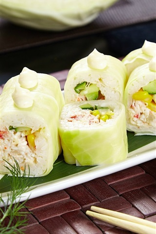 iPhone Wallpaper Sushi, rolls, wasabi, cabbage, Japanese food