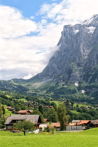 iPhone Wallpaper Switzerland, Grindelwald, mountains, grass, trees, village, clouds, sky