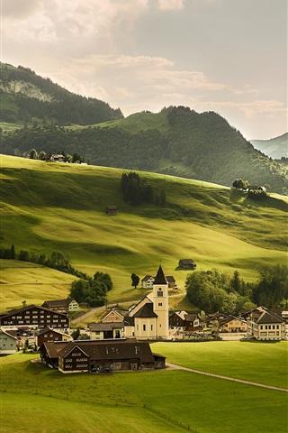 iPhone Wallpaper Switzerland, meadows, green fields, village, Alps, mountains, trees