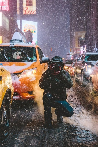 iPhone Wallpaper Times Square, New York, Manhattan, USA, city, street, winter, taxi, photography