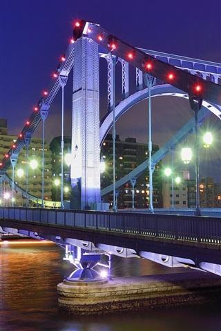 iPhone Wallpaper Tokyo, Japan, capital city, night, bridge, river, lights