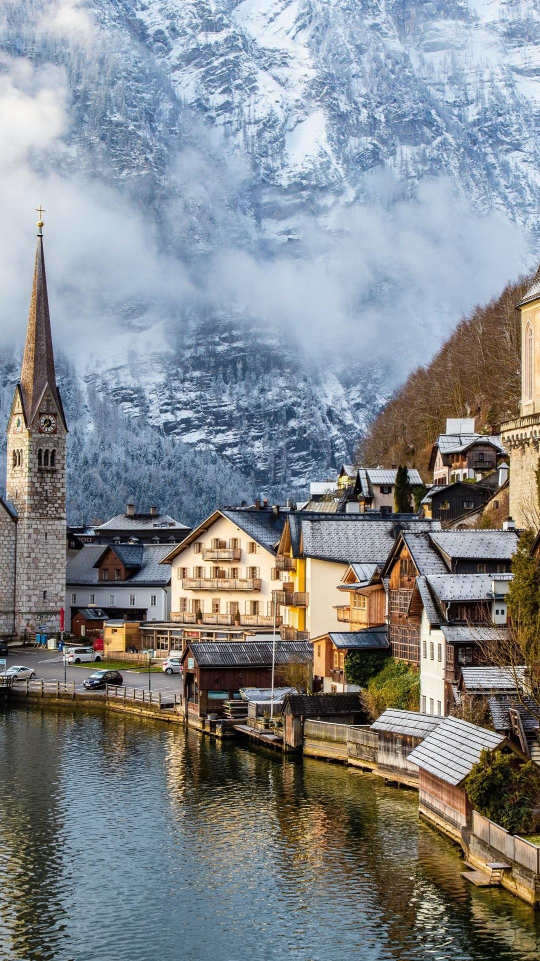 Обои австрия, дома, альпы, гальштат, hallstatt, austria. Города foto 18