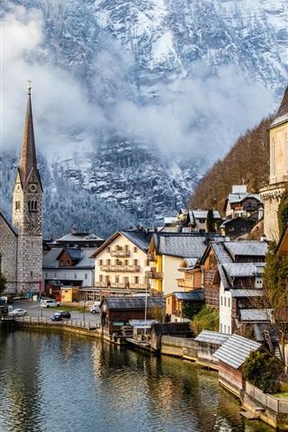 iPhone Wallpaper Travel to Hallstatt, Austria, mountains, alps, houses, fogs, trees, snow, winter