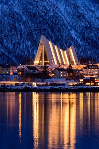 iPhone Wallpaper Tromso, Norway, winter, city, sea, mountain, night, lights