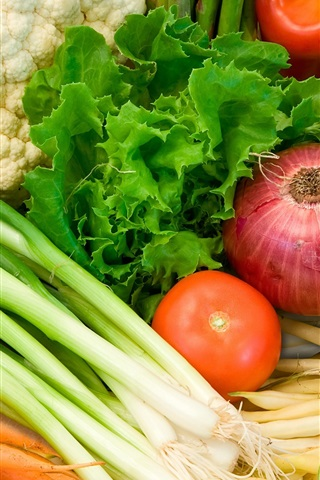 iPhone Wallpaper Vegetables, cauliflower, broccoli, tomatoes, carrots, onion, shallot