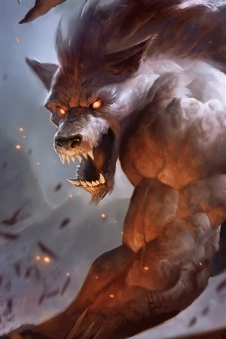 iPhone Wallpaper Werewolf, teeth, art pictures