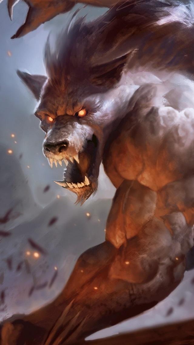 Werewolf, teeth, art pictures 640x1136 iPhone 5/5S/5C/SE