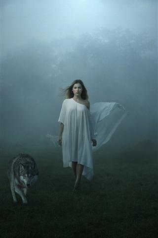 iPhone Wallpaper White dress girl and wolves, fog