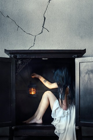 iPhone Wallpaper White dress girl sit in the fireplace, wall, creative picture