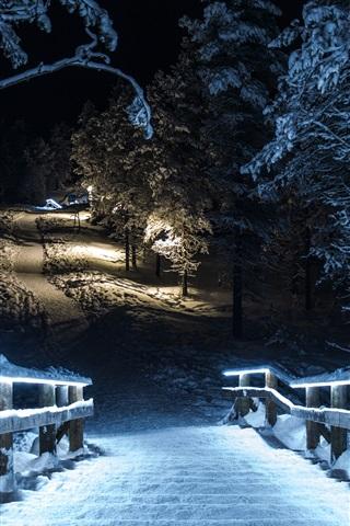 iPhone Wallpaper Winter park at night, snow, trees, wood stairs, lights, illumination