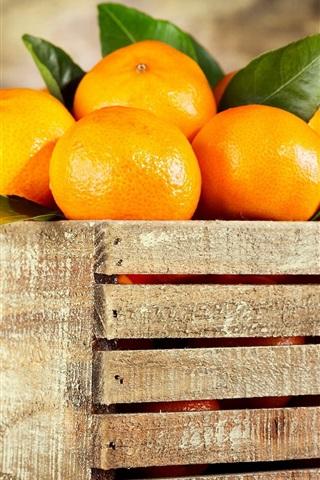 iPhone Wallpaper Wood box, oranges, fruit