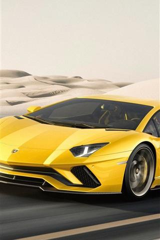 iPhone Wallpaper 2017 Yellow Lamborghini Aventador supercar at desert