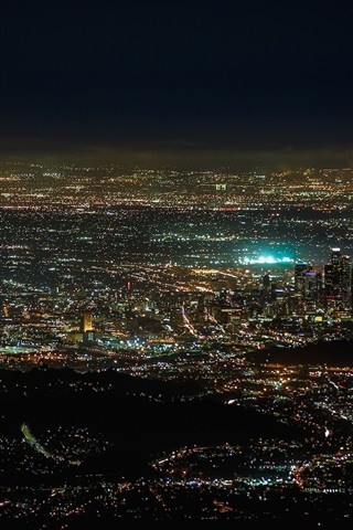 iPhone Wallpaper America, California, night city, lights, from top view