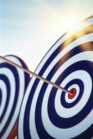 iPhone Wallpaper Arrow target, abstraction 3D, sun rays