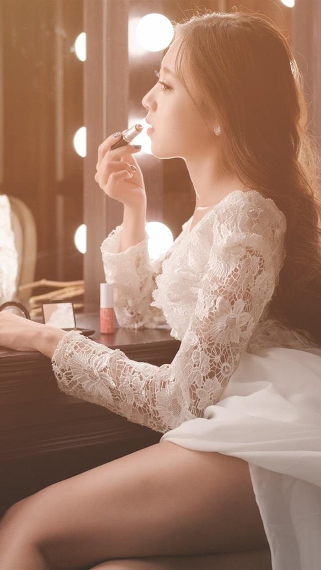 fondos de pantalla maquillaje niña asiática, novia, espejo 1920x1200