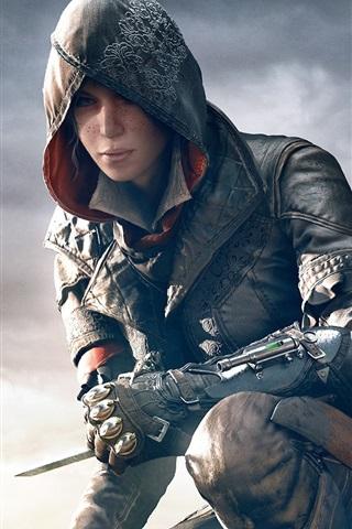 iPhone Papéis de Parede Assassin's Creed: Syndicate, menina bonita