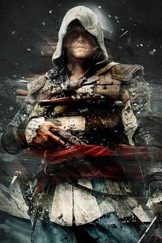 iPhone Papéis de Parede Assassin's Creed, fundo preto