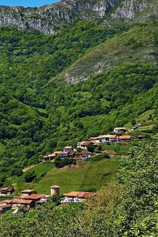 iPhone Wallpaper Asturias, Spain, houses, mountains