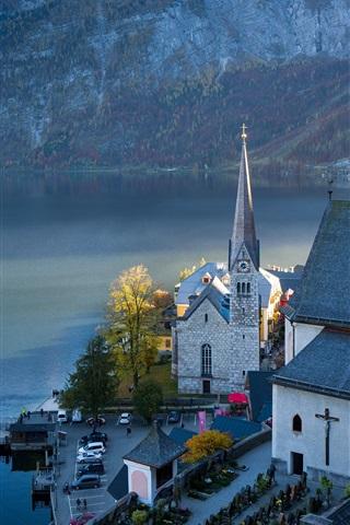iPhone Wallpaper Austria, Hallstatt, mountains, lake, Alps, town