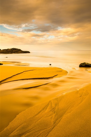 iPhone Wallpaper Beach, coast, sea, clouds, sunset