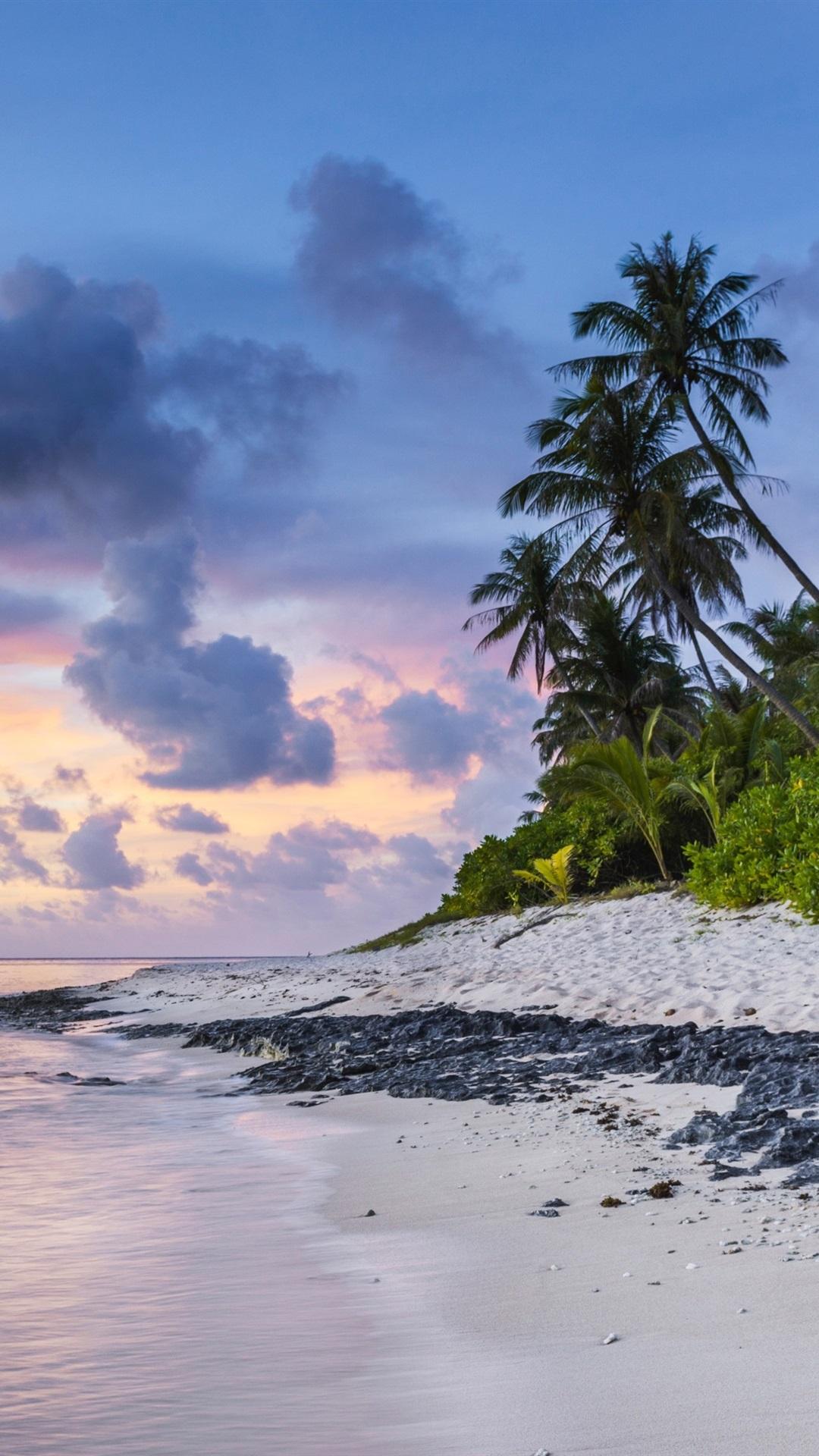 Beach Sunset Sea Palms Ocean Clouds 1080x1920 Iphone 8 7