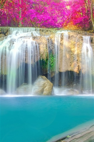 Beautiful Waterfall Trees Red Leaves Water Autumn 640x960 Iphone 4 4s Wallpaper Background Picture Image