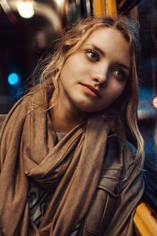 iPhone Wallpaper Blonde girl, blue eyes, window, rain