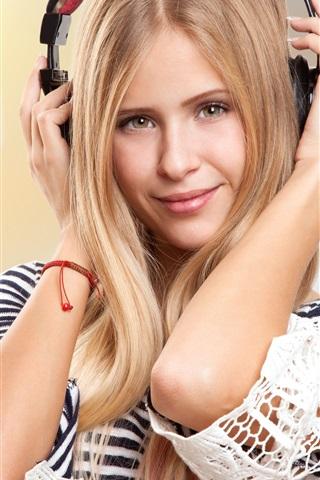 iPhone Wallpaper Blonde girl listening music, headphones