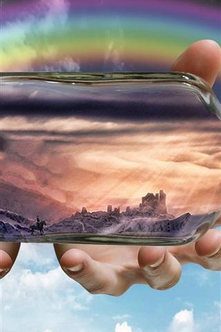 iPhone Wallpaper Bottle, dragon, castle, dream, creative design